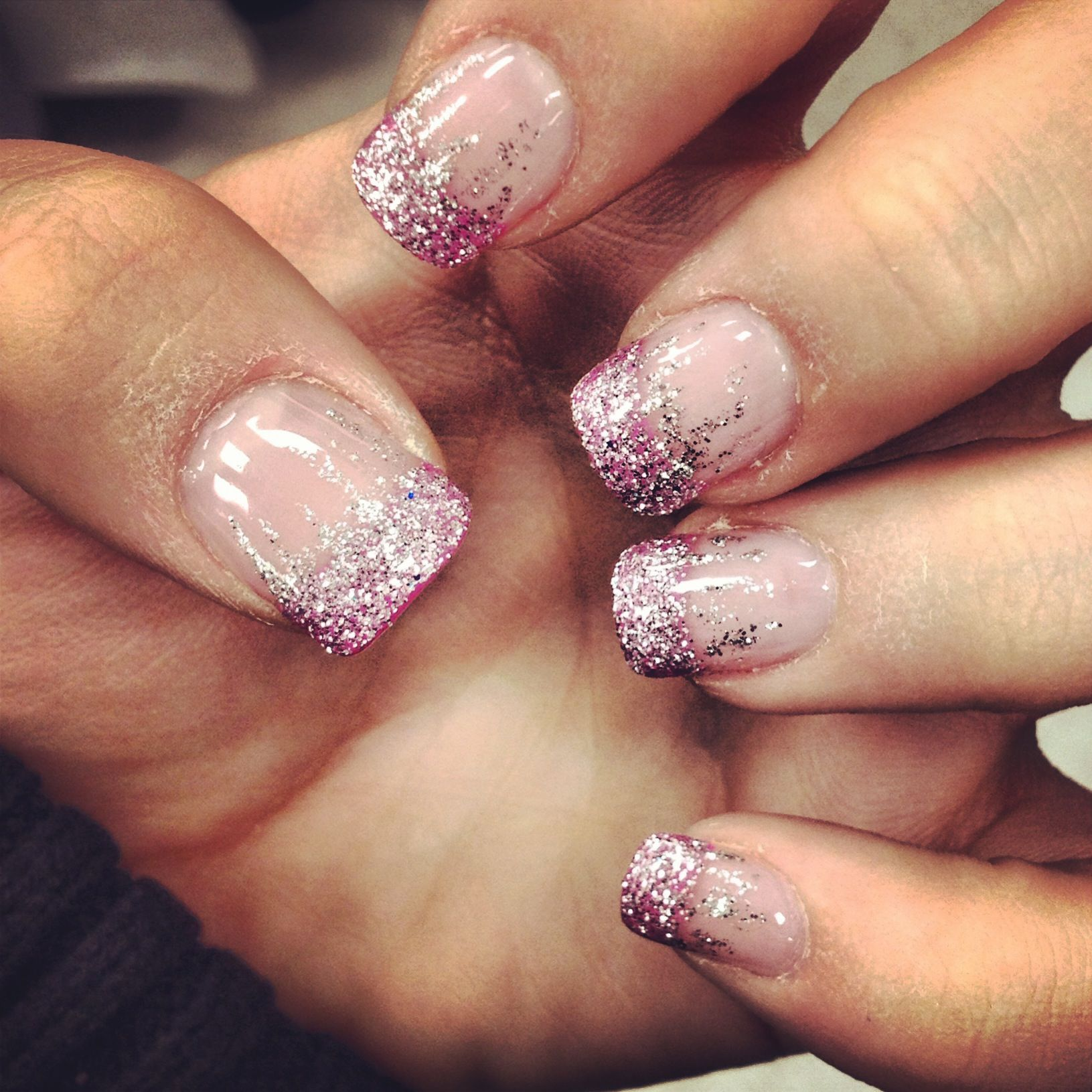 Just got new fill ins <3 pink french manicure with glitter! | My ...