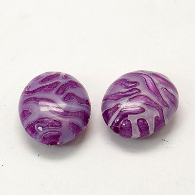 Pearlized Acrylic Beads, Oval, DarkOrchid, Size: about 24mm long, 20mm wide, 11mm thick, hole: 2mm, about 169pcs/500g.