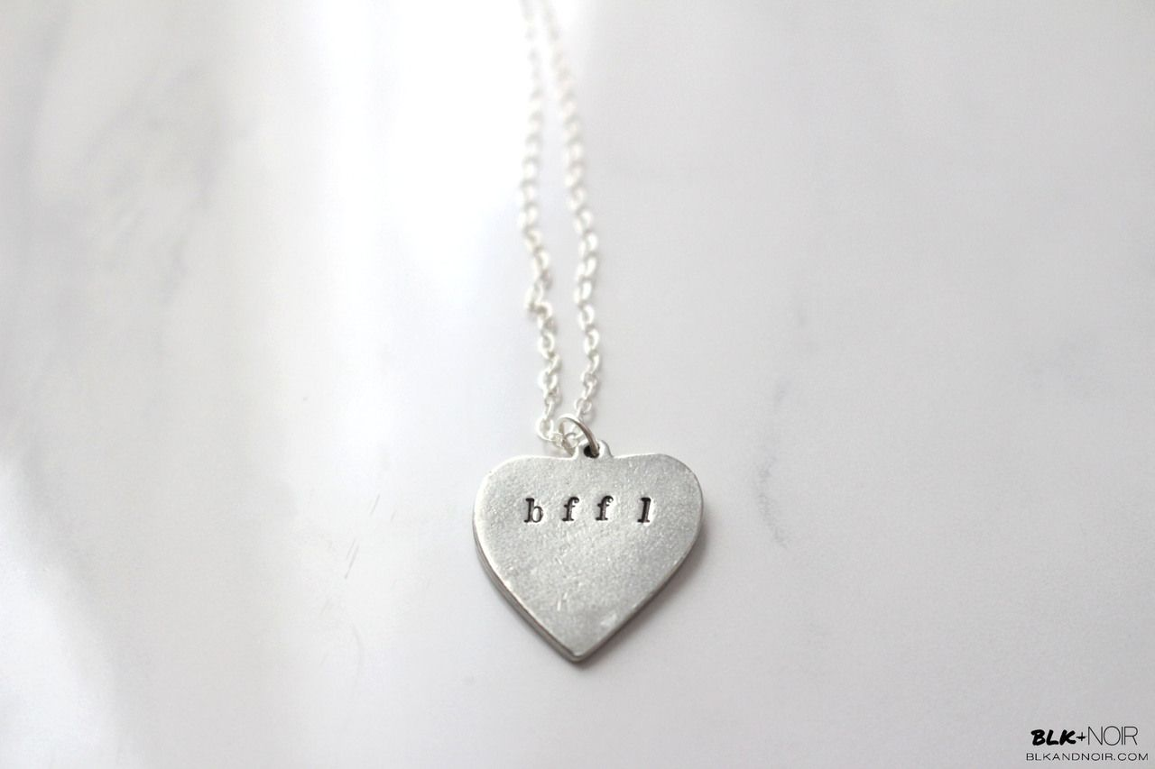 BLK AND NOIR JEWELRY - BFFL Heart Necklace, $20.00 (http://www.blkandnoir.com/bffl-heart-necklace/)