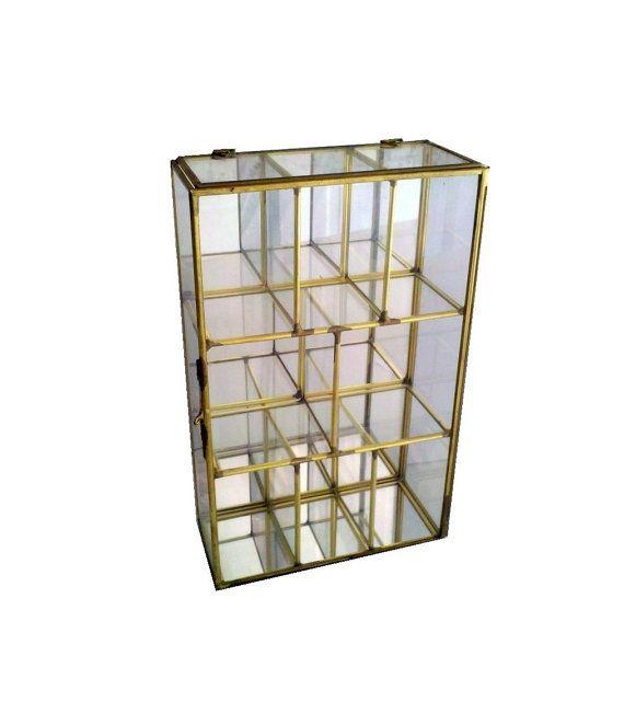 Glass & Brass Curio Cabinet Box, Mirrored Storage Case, Jewelry or ...