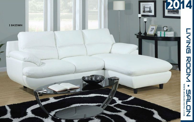 Sofa sectionnel cuir blanc for Divan jc perreault