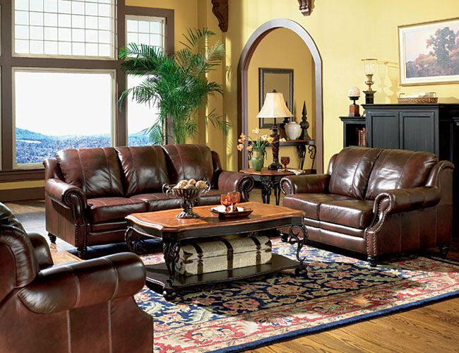 another color idea for a living room with dark brown leather ...