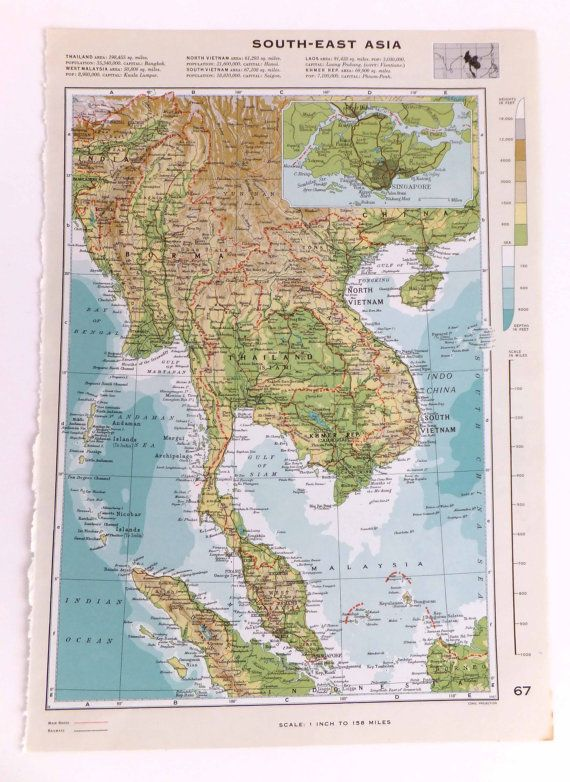 Vintage South-East Asia map - Large Map of South East Asia ...