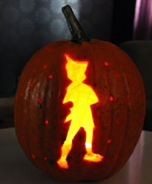 Peter pan pumpkin design and tinkerbell pumpkin carving design