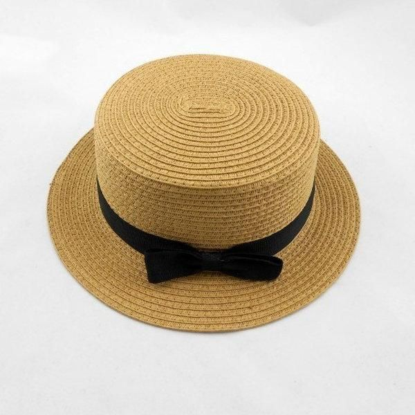 Vintage Style Women Flat Top Black Bowknot Straw Hat Large Brimmed Sunshade Hat Beanie Hats For Women Hats Hats For Women