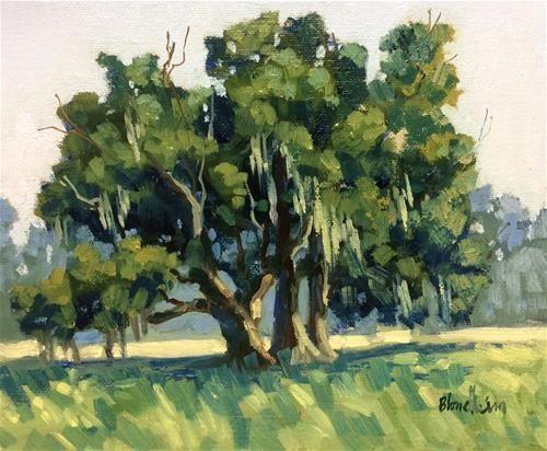 "Daily Paintworks - ""Florida Live Oak Tree"" - Original Fine Art for Sale - © Linda Blondheim"