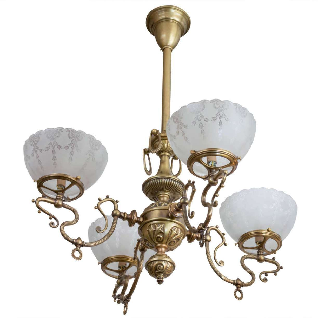 Late Victorian Four Arm Gas Chandelier With Deep Etched Gl