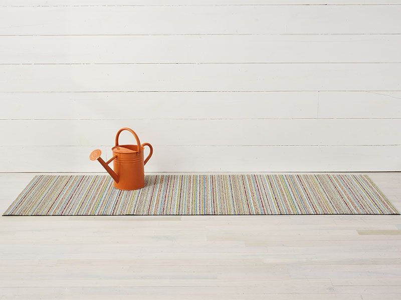 Skinny Stripe Shag Mat In Soft Multi Outdoor Lounge