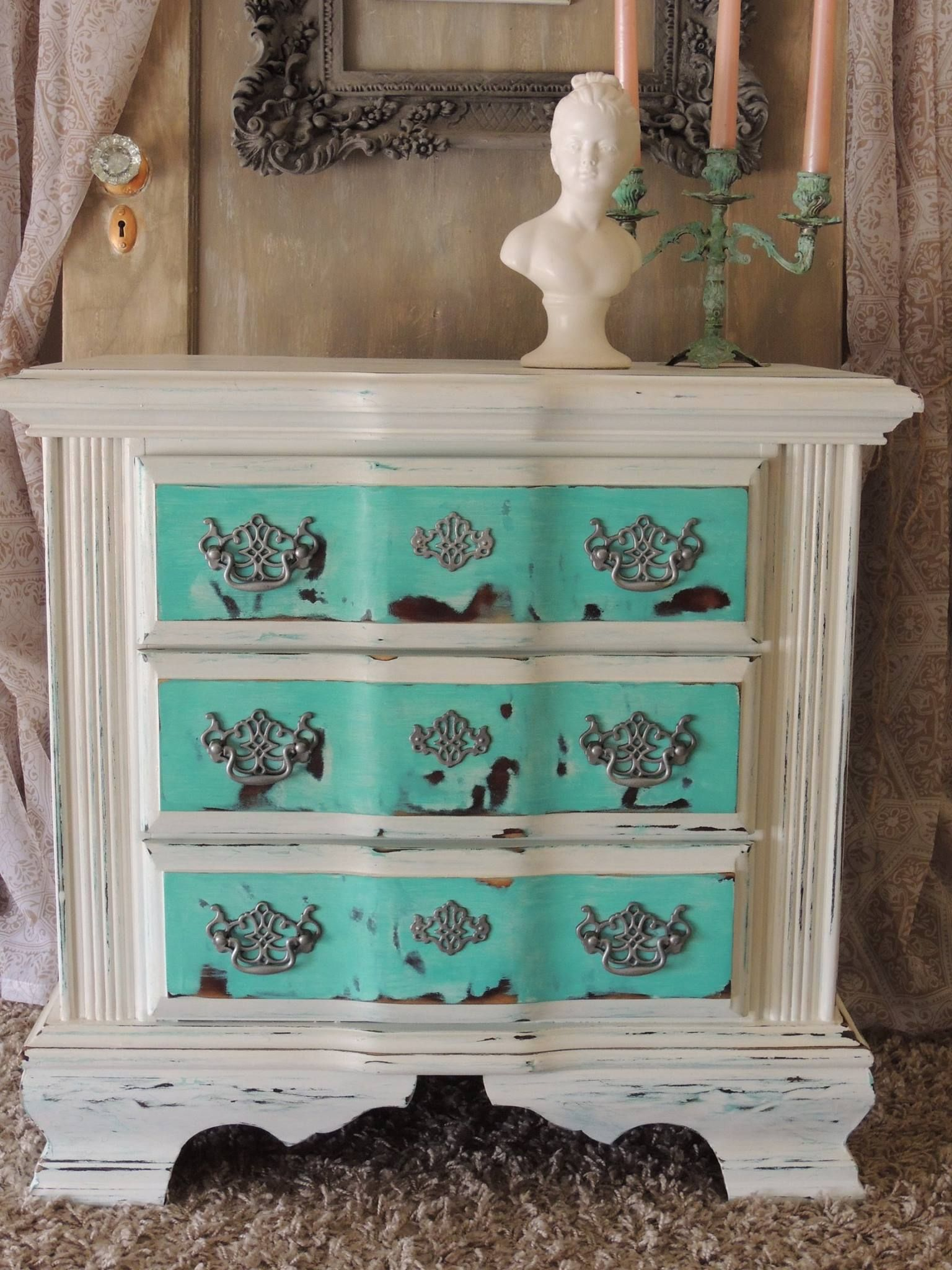 Turquoise and White Shabby Painted Nightstand www.thepaintedtableboutique.blogspot.com