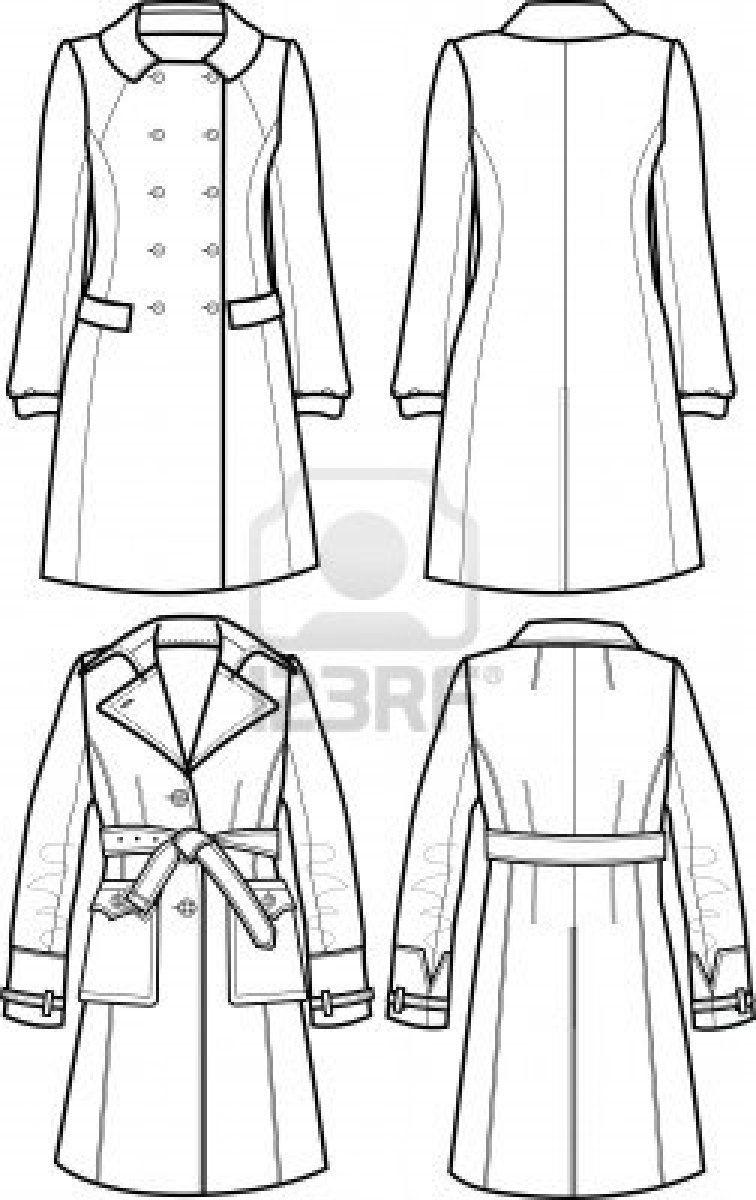 Pattern Art Dress Flat Sketch Tailored Clothes Jacket Flat Sketch Women