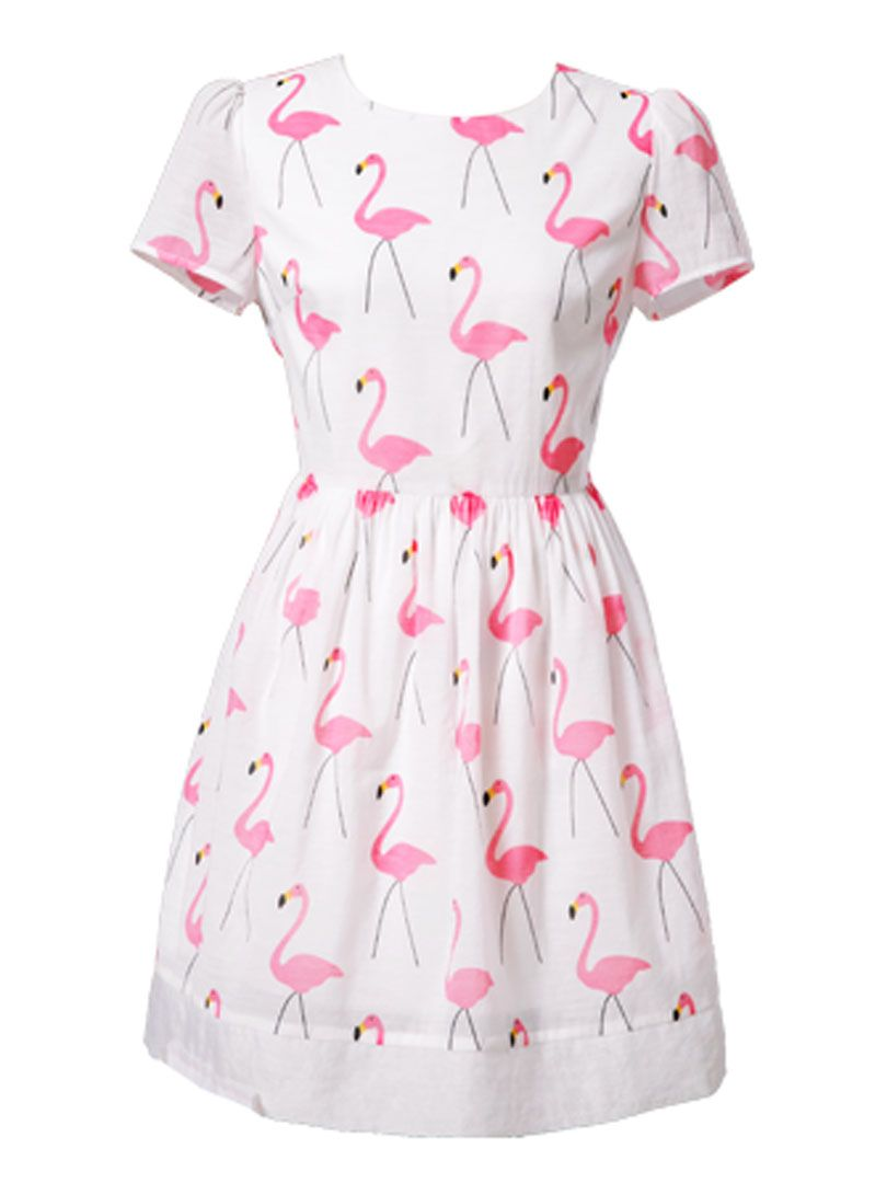 292a7da12f2 White Swan Print Short Sleeve Skater Dress