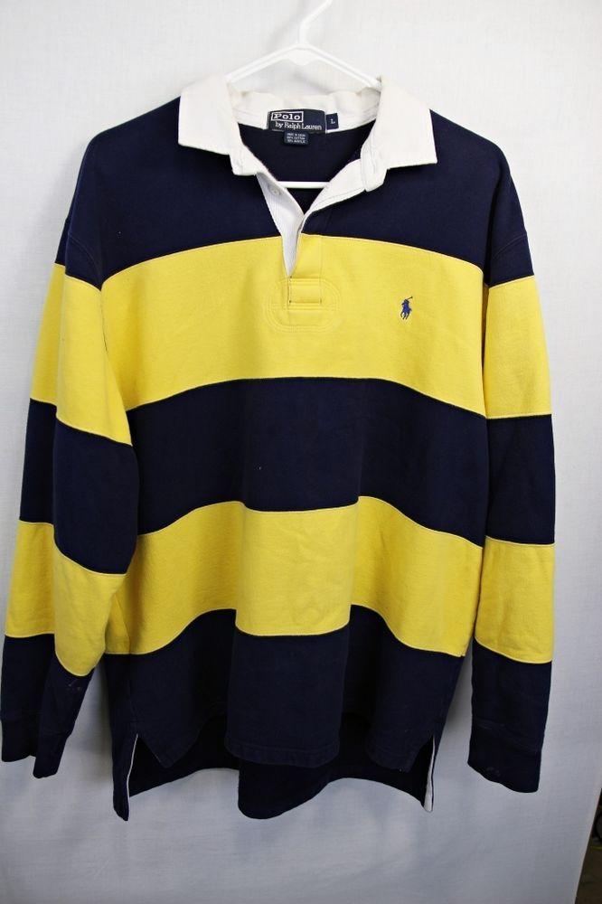 Shirt Sleeve Rugby Thick Ralph Polo Sz Lauren Yellowamp; Long Lg Navy QCBoWxedEr