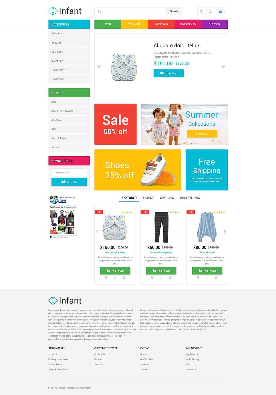 Infant Clothing Store Opencart Template Design Bundle Templates