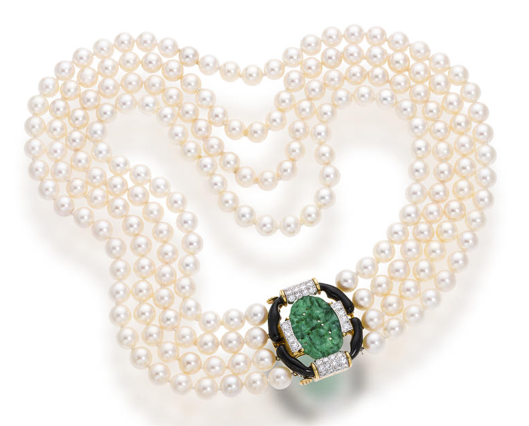 A cultured pearl, jadeite jade and diamond necklace, David Webb comprising four rows of forty-five, forty-eight, fifty-one and fifty-five cultured pearls, measuring approximately 7.5 to 7.0mm., completed by a carved oval jadeite jade clasp, within an openwork black enamel and pavé-set diamond surround