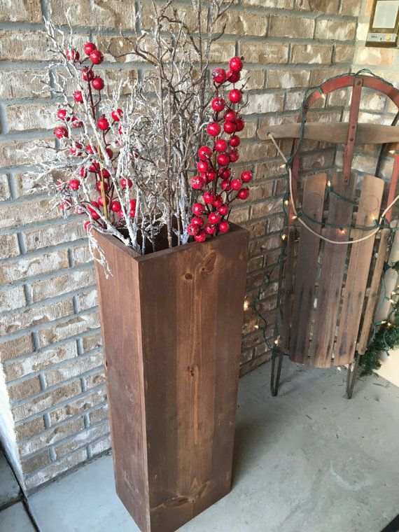 Wooden Vase Reclaimed Wood Rustic Vases Floor Vases Rectangle