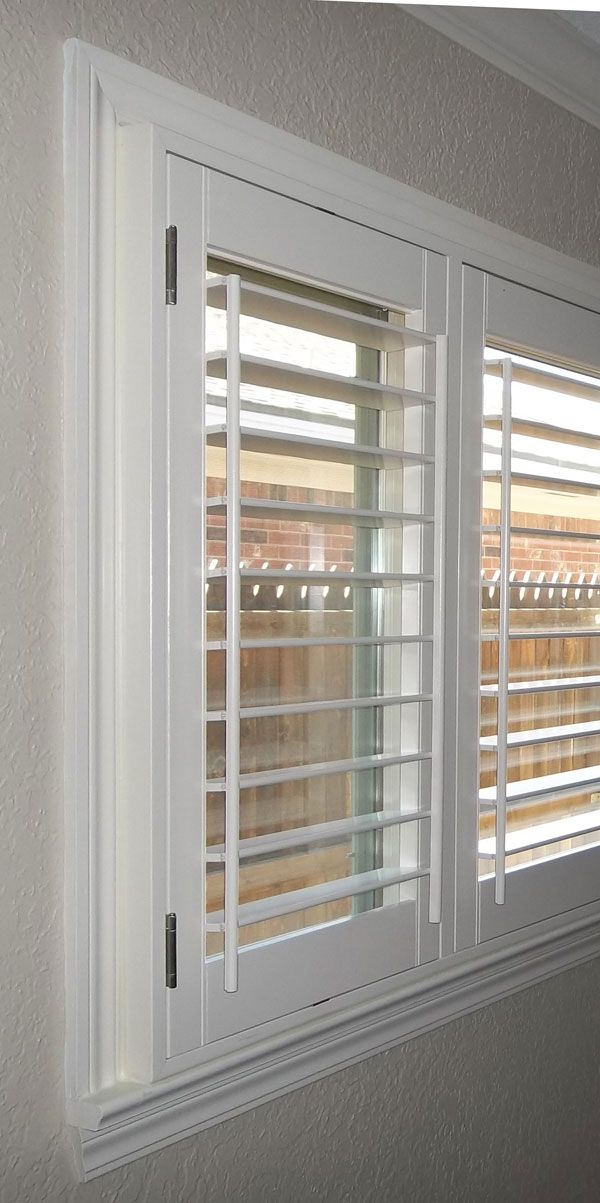 How outside-mount shutters will look on my windows: kind of a box protruding into the room, and taking up the whole windowsill