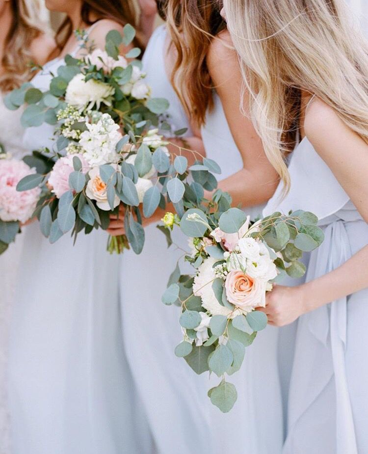 Blue Theme Bridesmaids Dresses Peony Bouquet Wedding Wedding Bouquets Peony Wedding