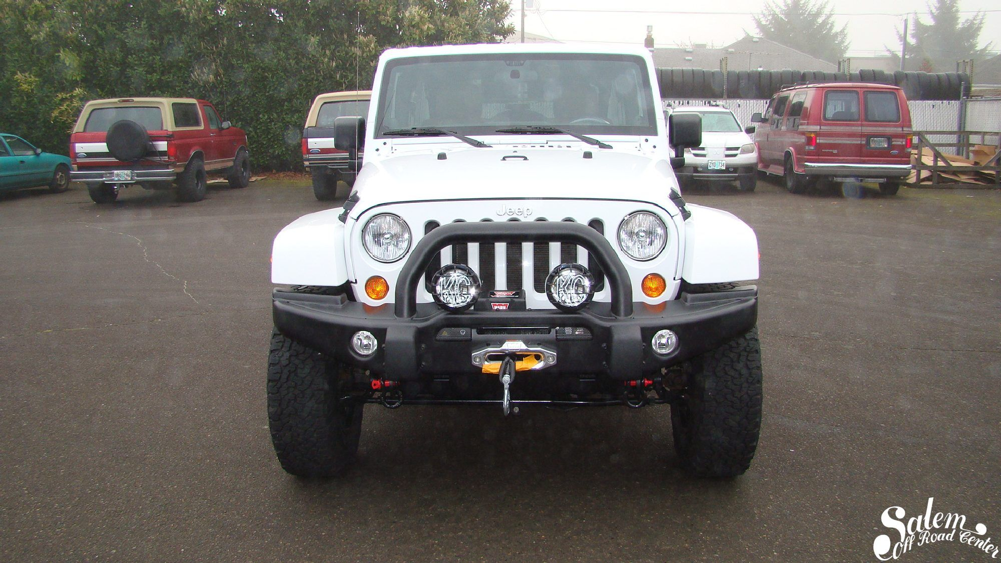 On this 2015 jeep wrangler jk we installed a aev front bumper with a warn vr8000