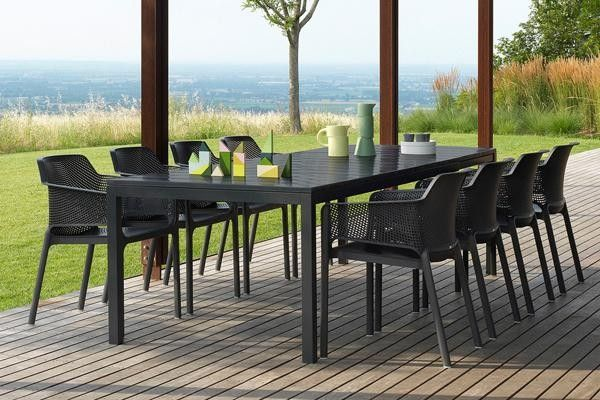 Nardi Net 9 Piece Dining Setting with Rio Extendable Table