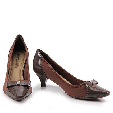 9d3e3ba6bb Sapatilha Bico Fino · Saltos Baixos · Sapato Scarpin Feminino Piccadilly -  Café Sapatos Pretos