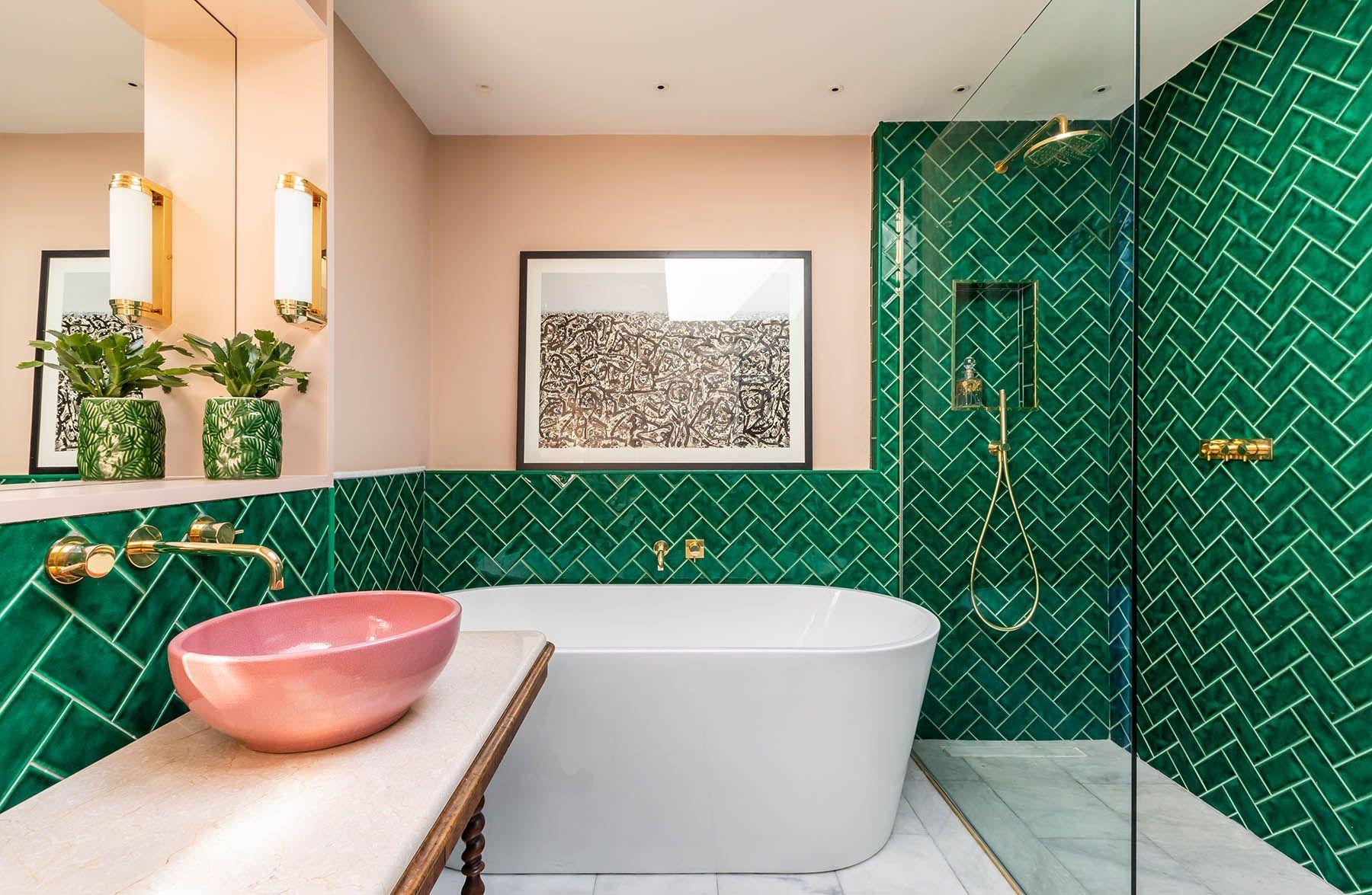 Guest Bathroom Emerald Green Metro Tiles Plaster Pink Walls Marble Floor Pink Ceramic Sinks Bathroom Interior Design Bathroom Interior Apartment Interior