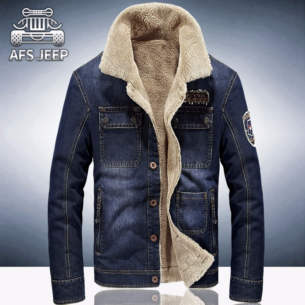 new fleece thicken winter jacket men casual denim winter coat