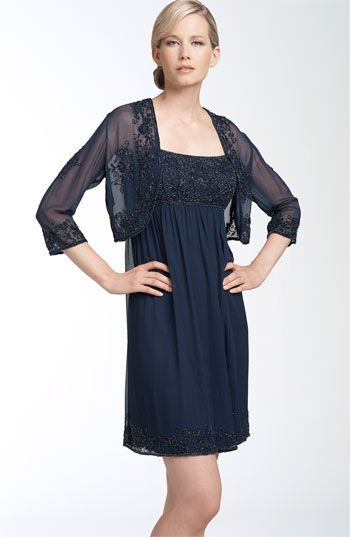 Patra Beaded Silk Chiffon Cocktail Dress & Jacket available at #Nordstrom
