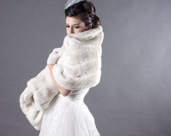 The Grace Kelly Ivory Faux Mink Bridal Cape by FoxgloveBridal