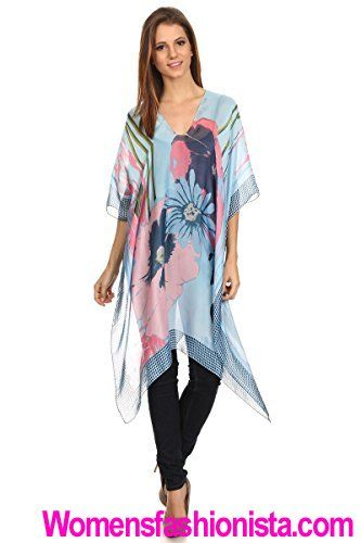 f244c9c2747 LL- Womens Light Blue Flower Polka Dot Mid Length Silk Blend Caftan Poncho  Cover Up