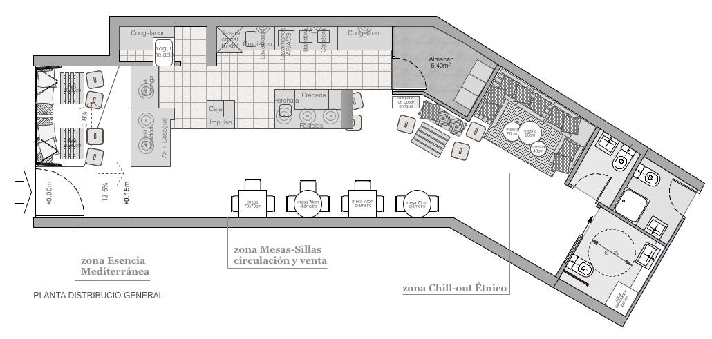 Plano de planta de distribuci n acotado de un local for Libros sobre planos arquitectonicos