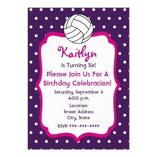 Girls Volleyball Birthday Invite- Purple With Pink