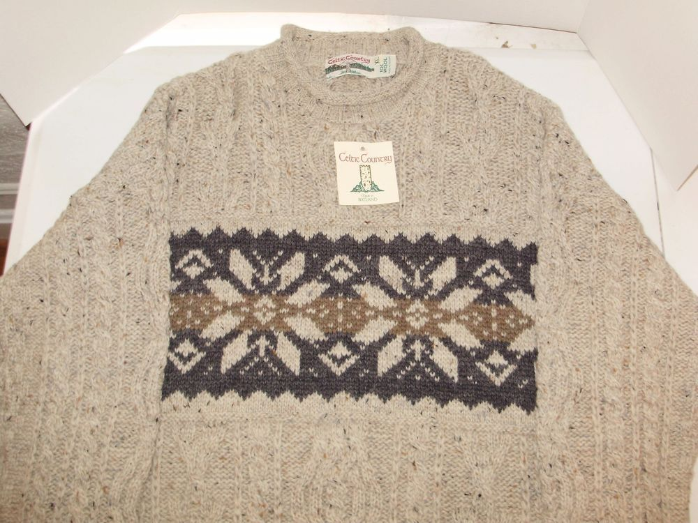 Celtic Country XL Men's Fisherman Sweater Wool Snowflake Cable Knit Ireland NWT #CelticCountry #FishermanSweater