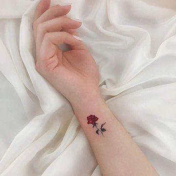 Aesthetic Classy Small Rose Tattoo On Wrist