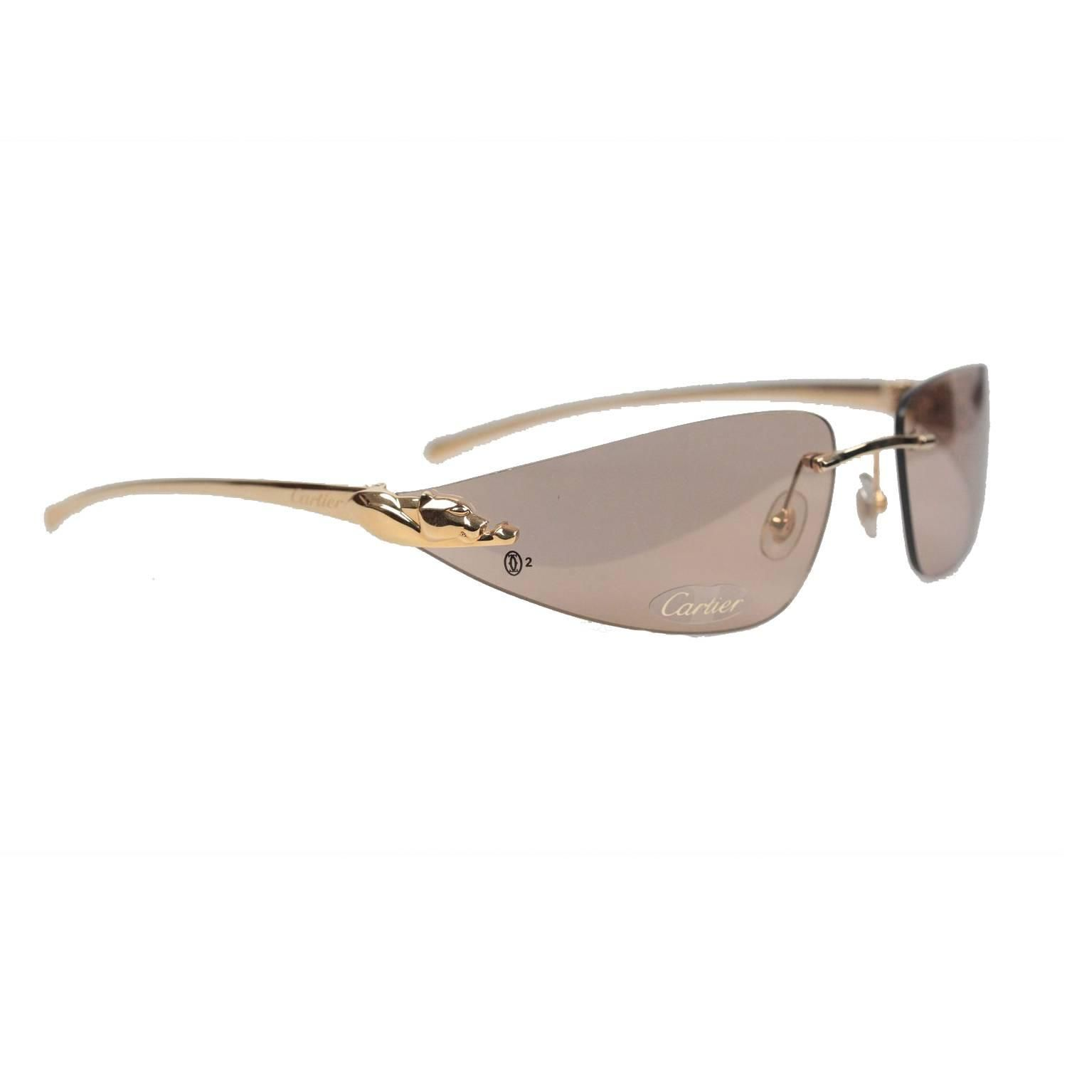 b4eac1ac689 Cartier Paris Sunglasses Panthere T8200611 Gold Brown 110 For Sale at  1stdibs