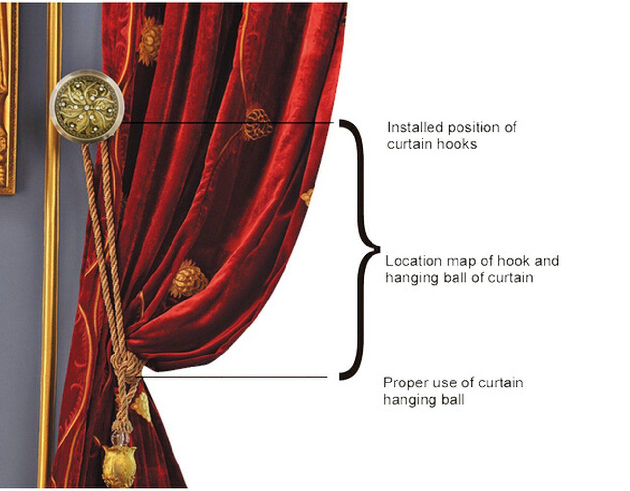 Elecharm 1 Pair Drapery Medallion Holdback Curtain Wall Hooks Home