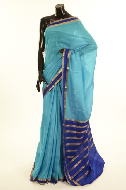 Mysore Crepe- crepe light turquoise blue saree with blouse