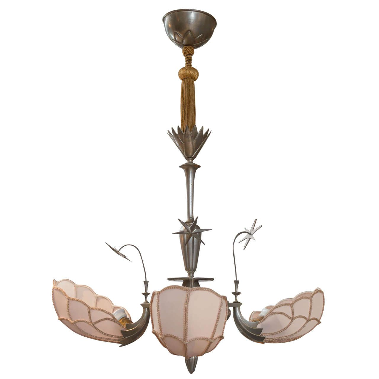 Swedish art nouveau chandelier in pewter and silk circa 1920s swedish art nouveau chandelier in pewter and silk circa 1920s from a unique collection arubaitofo Image collections