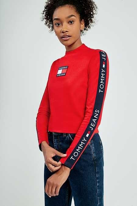 324b9271e Tommy Jeans '90s Tape Stripe Mock Neck Long Sleeve T-Shirt   Fashion ...
