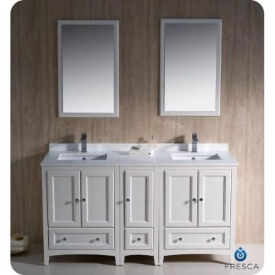 Fresca Oxford 60 In Double Vanity In Antique White With Ceramic
