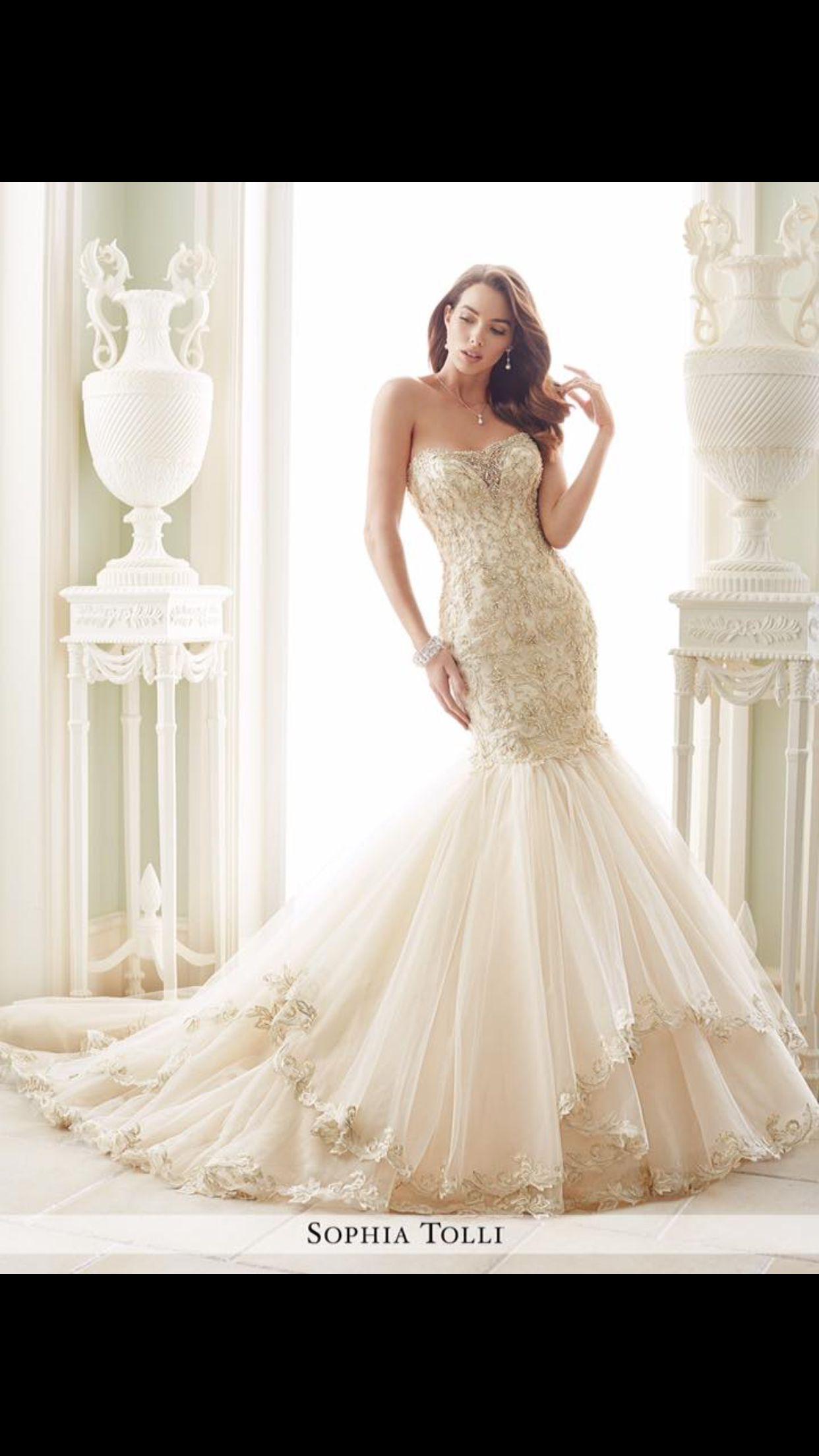 Sophia Tolli mermaid wedding dress in Gold & blush