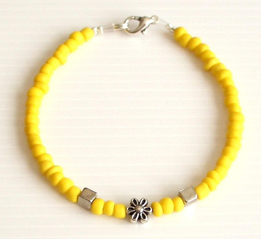 d606b2fb2275 Bracelet friendship minimalist yellow glass beads Tibet Tibetan ...