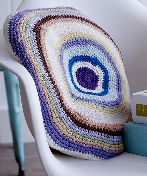 Our funky circular crochet cotton cushion in a great palette of colours Plain cotton back Machine washable feather pad 50 cm