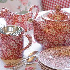 Teeservice Burleigh Red Calico. www.kippax.de/Geschirr/Burleigh-Geschirr/ #cuppatea