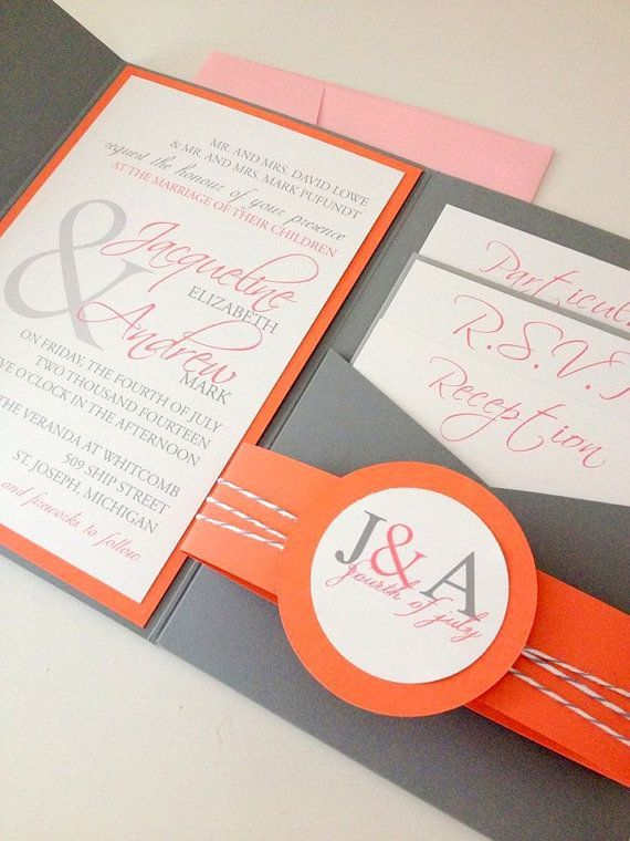 Modern Whimsical Romance Pocket Wedding Invitation In C And Gray