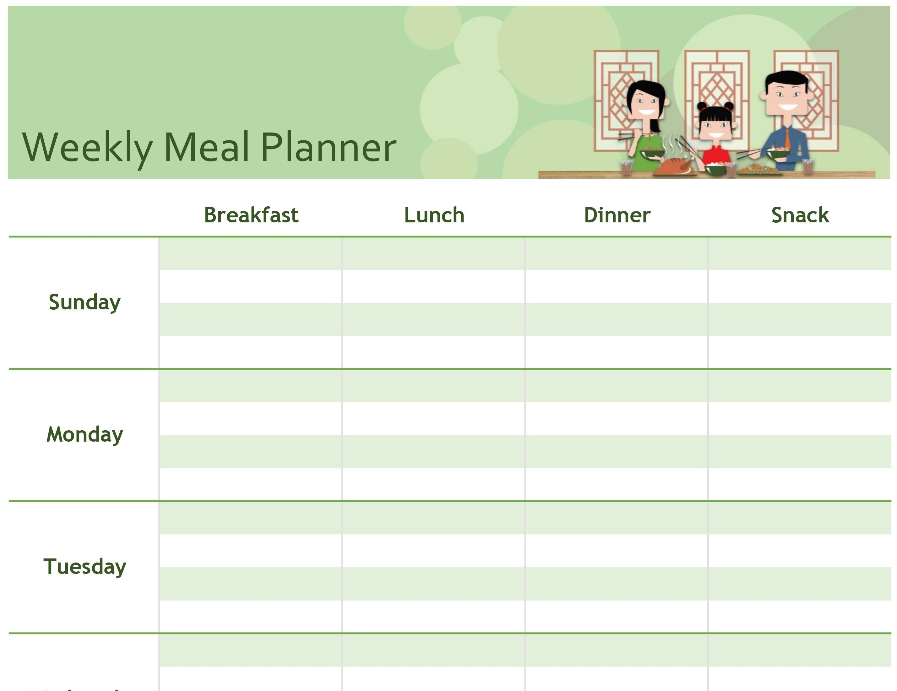 Unique Meal Planning Template Sheets Exceltemplate