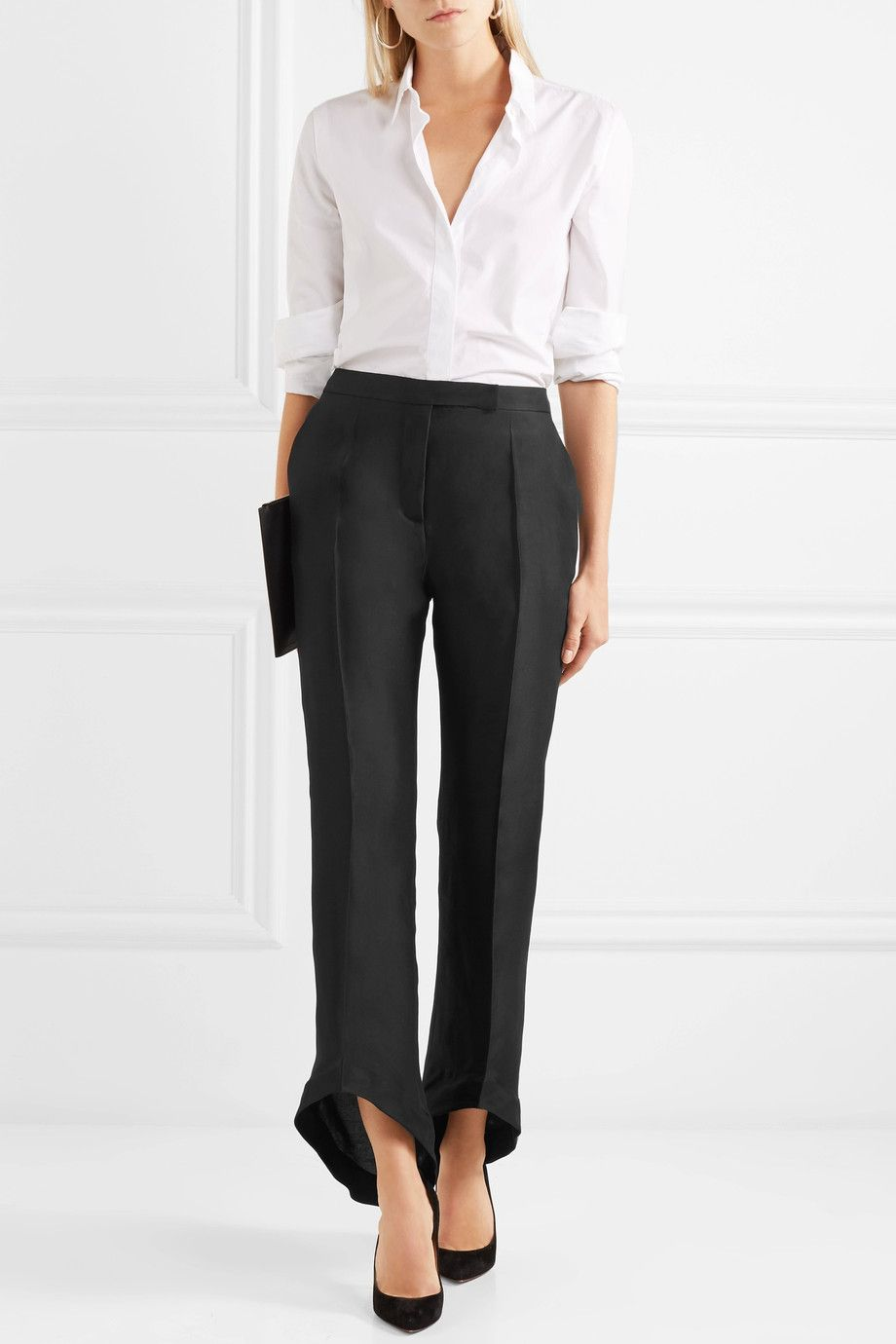Cropped Silk And Cotton-blend Twill Bootcut Pants - Black Antonio Berardi rEoh6kizEk