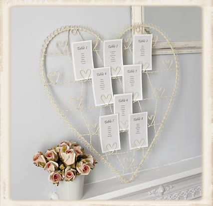 Adorable way to arrange the cards used for table plans