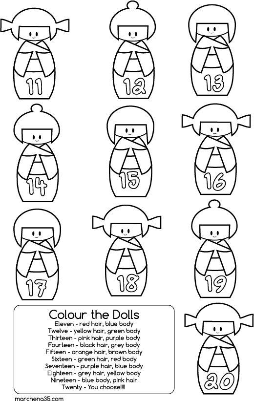 Kokeshi Dolls Zahlen 11 - 20 Bildungs Färbung Seite | Desen ...