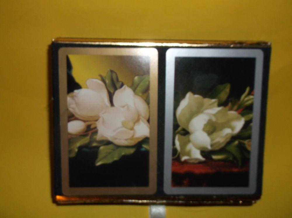 Vintage Congress Playing Cards 2 Decks Magnolia Flower Jumbo Index Used #Congress