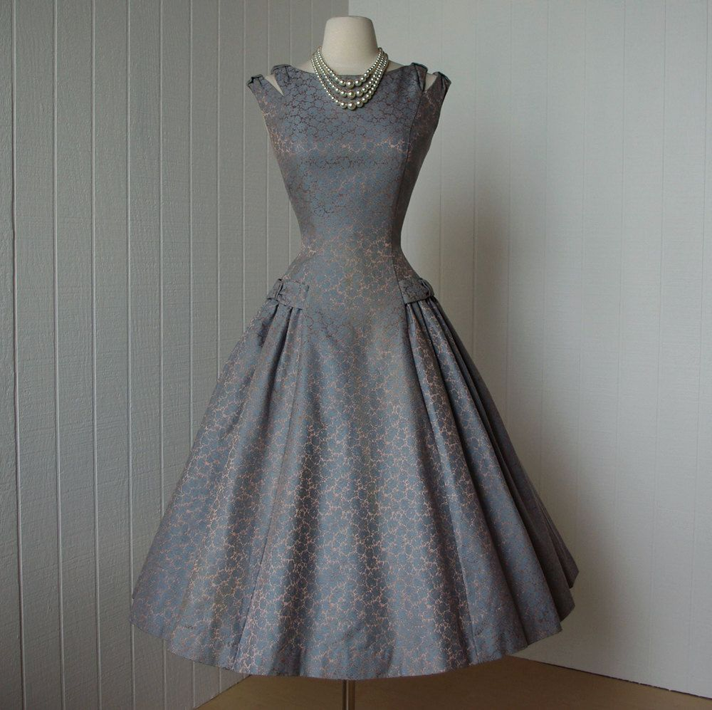 vintage 1950's dress ...beautiful NATLYNN new york originals blue ...